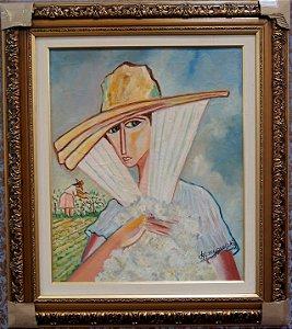 Quadro Tela Pintura a Óleo Moça com Chapéu Por Miguel Sky