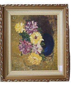 Quadro Tela Pintura a Óleo Florais Por A. Schimidlin