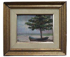 Quadro Tela Pintura a Óleo Barco e Árvore Por Ivan Amorim