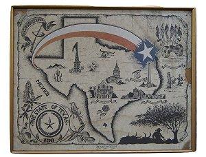 Quadro Gravura Território Do Texas EUA