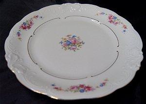 Prato Raso de Jantar Porcelana Kpm Flores