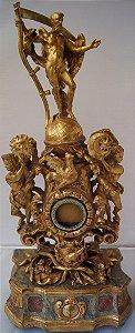 Antigo Porta Relógio de Bolso Entalhado Madeira Maciça