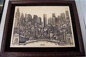 Quadro Chicago City Em Resina
