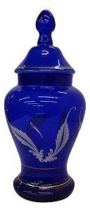 Potiche de Vidro Azul Cobalto Com Detalhes em Dourado