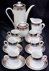 jogo Café De Porcelana de real cinza e branco