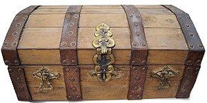 Baú de madeira caixa para faqueiro elmo