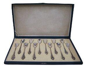 conjunto de 12 colheres para café de prata