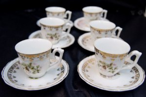 Jogo de 6 Xícaras para Café Steatita com Detalhes em Dourado