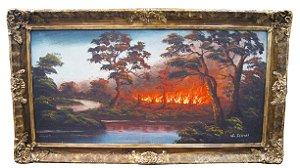 Quadro Pintura Óleo Sobre Tela Floresta em Chamas J. Soares