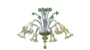 Lustre Antigo De Cristal Murano 6 Braços