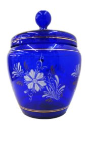 Potiche de cristal italiano azul flores