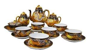 Jogo De Chá Em Porcelana Casca De Ovo Antigo