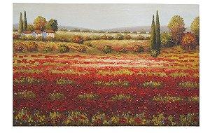Quadro Tela Pintura Óleo Natureza Campos Roseiras