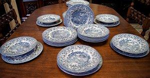 Aparelho De Jantar Inglês Antigo De Porcelana eit 36pç