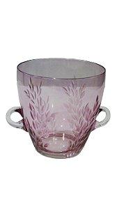 Balde De Gelo De Cristal Folhas Rosa