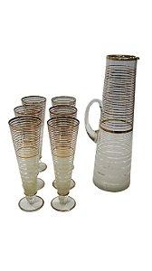 Jarra De Cristal Filetes de Ouro 06 Taças