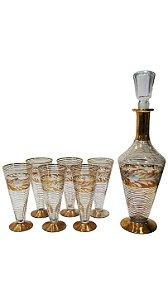 Licoreira De Cristal Filete De Ouro 06 Taças