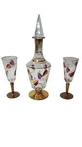 Licoreira De Cristal Filetes de Ouro 2 Taças