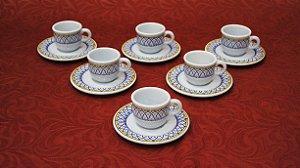 Jogo 6 Xícaras de Chá Café Porcelana Italiana Tiffany