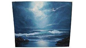 Kit 3 Quadro Tela Pintura A Óleo Praia Oceano mar ângelo di Fiori 120cm