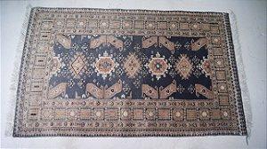 Tapete Karachi Antigo de lã algodão seda Legitimo Artesanal