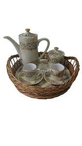 Antigo Jogo de Cafe Porcelana Florido 2 xícaras