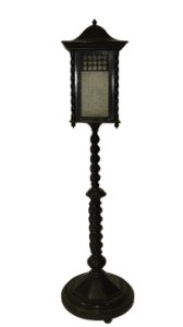 Luminária de Chão de Madeira Escura Maciça Estilo Manoelino