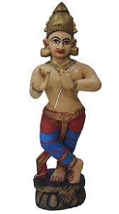 Escultura Krishna em Madeira Nobre  90cm