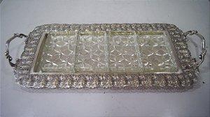 Petisqueira De Cristal E Prata Com 4 Cavidades