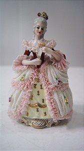 Bibelô Escultura Boneca De Porcelana Dama Medieval Inglesa