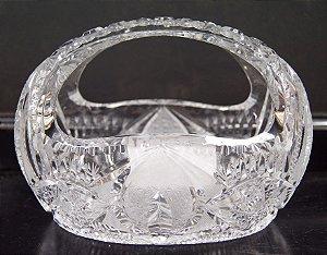 Floreira Cesto de Cristal Lapidado Theco