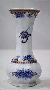 Vaso Solitário Porcelana T. Limoges Flores Azul