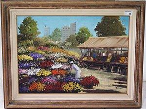 Quadro Pintura A Óleo Feira flores  - Rezende  90x70cm