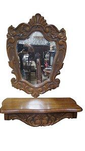 Aparador Entalhado e Espelho Bisotê Em Madeira de Cerejeira