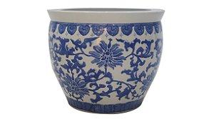 Cachepô Chines Azul em Porcelana