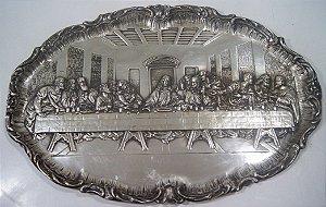 Santa Ceia Banhada a Prata Decorativo