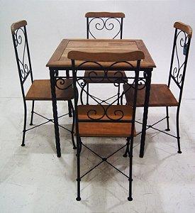 Conjunto Mesa Bistrô Rustico Ferro Madeira 4 Cadeiras
