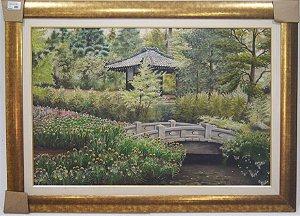 Quadro Pintura A Óleo Paisagem japonesa E. Nascimento