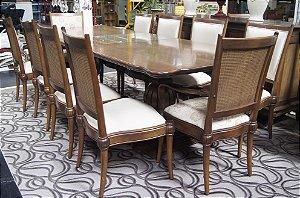Conjunto Sala de Jantar 10 Cadeiras Imperatriz Veludo Creme