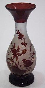 Vaso de Vidro Jateado Vermelho Desenho De Flores