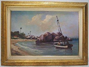 Quadro Pintura A Óleo Barco Praia Biscaia Marina