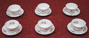 Conjunto 6 Xícaras De Café Porcelana Maua Flores