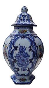 Vaso Grande Azul Português Com Tampa Origem Alcobaça