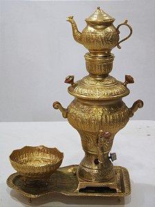 Samovar Elétrico Russo Em Latão E Bronze