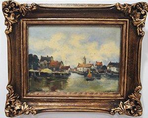 Quadro Pintura Óleo Sobre Madeira Porto Barco 56 x 47 cm