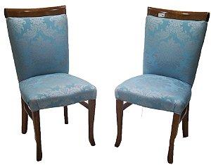 Par de Cadeiras Tecido Azul com Flores