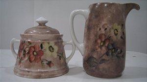 Leiteira E Açucareiro De Porcelana Steatita Pintado a Mão