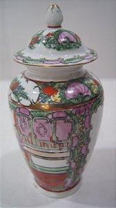 Vaso Em porcelana Com Tampa Chines Pintado a Mão