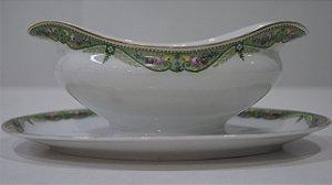Molheira de Porcelana Bavaria Alemã Detalhes Verde