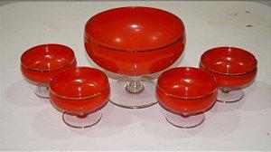 Conjunto De Sobremesa Tigela e 4 Taças Vermelho